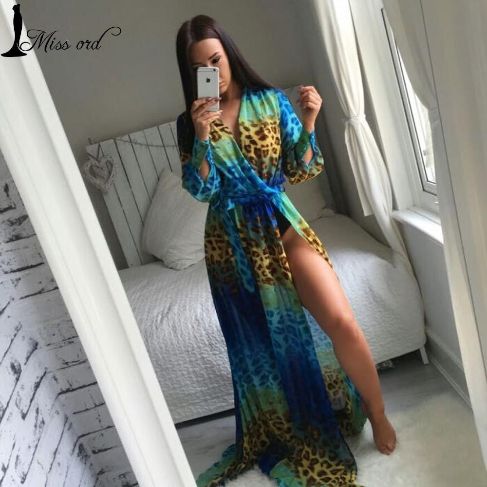Sexy Leopard Print Perspective Gauze Maxi floor length Dress FT2858-1-Dress-SheSimplyShops