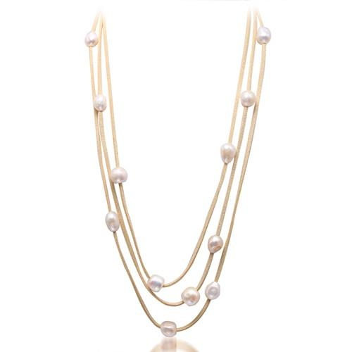Natural White Baroque Pearl & Leather 3 Layer Necklace Long Jewelry Pearl Necklace-NECKLACES-SheSimplyShops