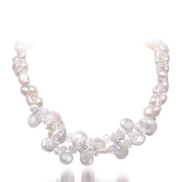 White Natural Baroque Pearl & Crystal Necklace Wedding Jewelry, Coin Pearl Necklace-NECKLACES-SheSimplyShops