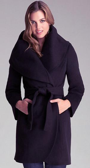 Large Shawl Collar Slim Long Wool Elegant Winter Women Coat With A Belt-Coats & Jackets-SheSimplyShops