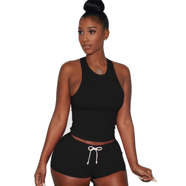 Sexy Tracksuit Vest Crop Top+ Shorts-PANTS-SheSimplyShops