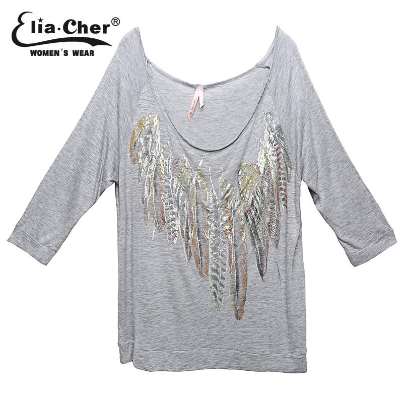 Shirts New Print Floral T shirt Women tops casual women clothing Grey Tee Appliques and Three Quarter Sleeve Crop T shirt-SHIRTS-SheSimplyShops