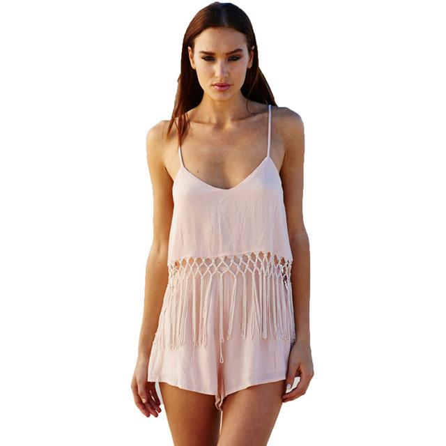 V Neck Spagehetti Strap Fringed Poplin Romper Beach Relax Playsuit Jumpsuits-ROMPERS & JUMPSUITS-SheSimplyShops