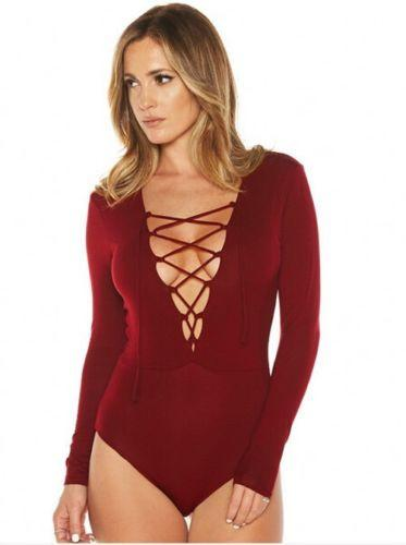 Womens Sexy Deep V Neck Cross Bandage Long Sleeve Bodysuit Stretch Bodycon Playsuit Jumpsuit Romper-ROMPERS & JUMPSUITS-SheSimplyShops