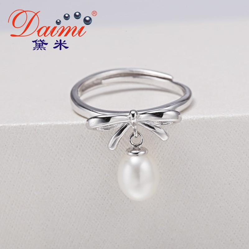 Elegance Bow knot Ring Sterling Silver Ring White Freshwater Pearl Ring Fine Jewelry-JEWELRY-SheSimplyShops