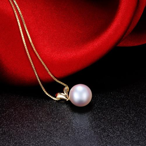 Pearl Necklace 100% Natural Gold Pearl Pendant Necklace-NECKLACES-SheSimplyShops