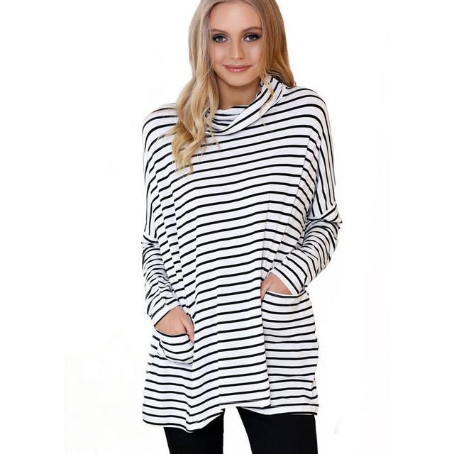 Autumn Knitted Long Sleeve Striped T-shirt Women Tops Lady Top Plus Size Casual Women Clothing-SHIRTS-SheSimplyShops