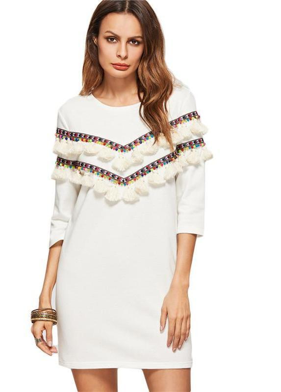 Loose Fashions Women Mini Dress White 3/4 Sleeve Dress With Embroidered Tape And Tassel Detail Dress-Dress-SheSimplyShops