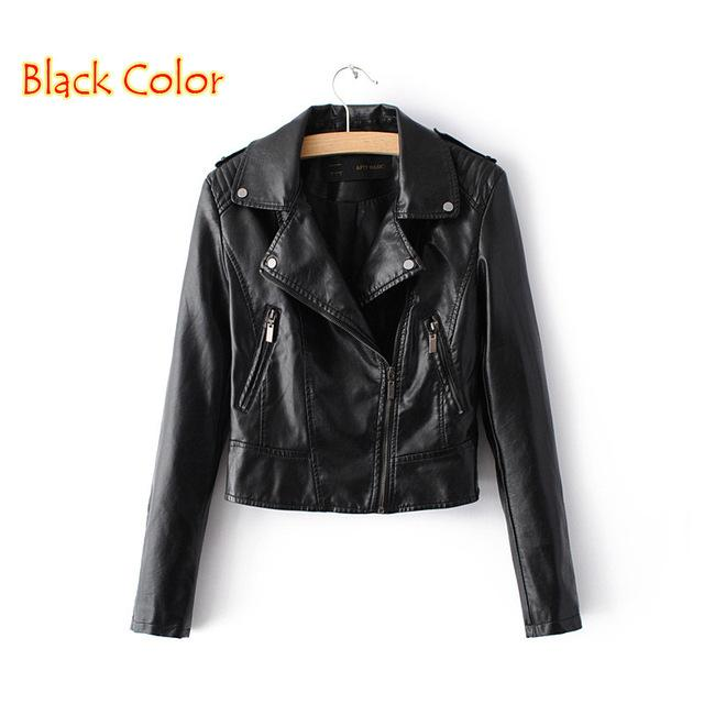 Motorcycle PU Leather Jacket Women Winter And Autumn New Fashion Coat 4 Color Zipper Outerwear jacket New Coat-Coats & Jackets-SheSimplyShops