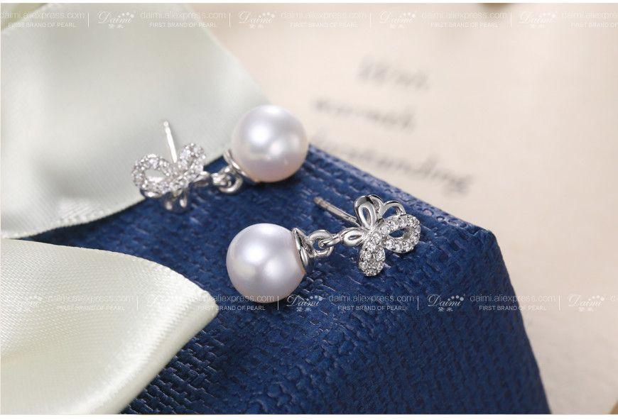 7-8mm Perfect Round Pearl Earrings sterling-silver-jewelry Butterfly Earrings Jewelry Gift For Girls-EARRINGS-SheSimplyShops