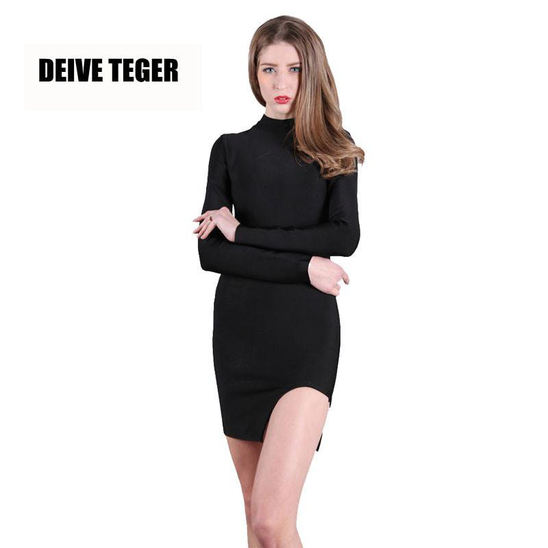 New Women's sexy long sleeve black Dress high neck black body con Dresses women-Dress-SheSimplyShops