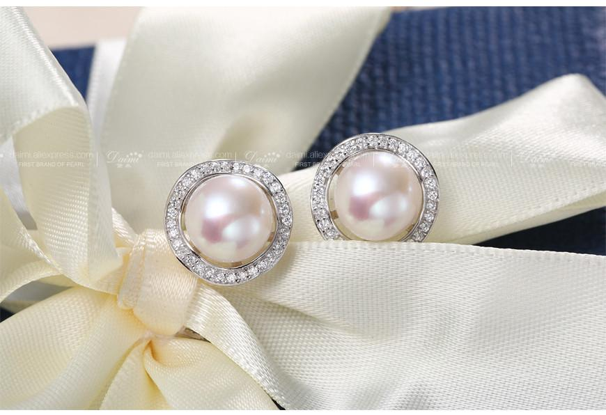 Shiny Earrings White Pearl Earrings Sterling Silver Jewelry Freshwater Pearl & Crystal Earrings Fine Jewelry-EARRINGS-SheSimplyShops