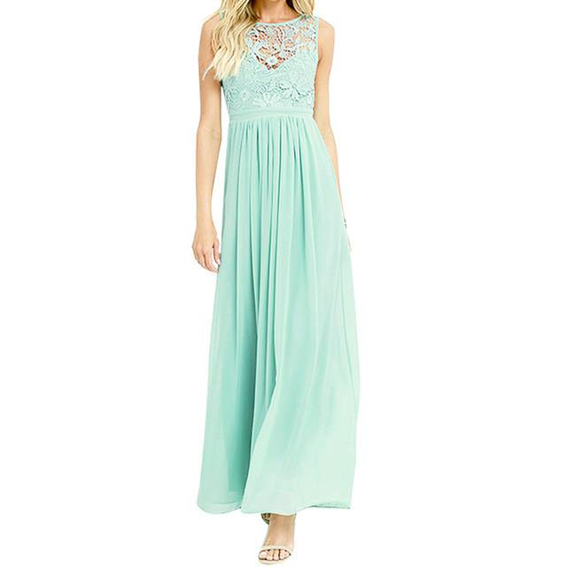 Maxi Dress Summer Fashion Sleeveless Pleated Soft Chiffon Lace Dress-Dress-SheSimplyShops