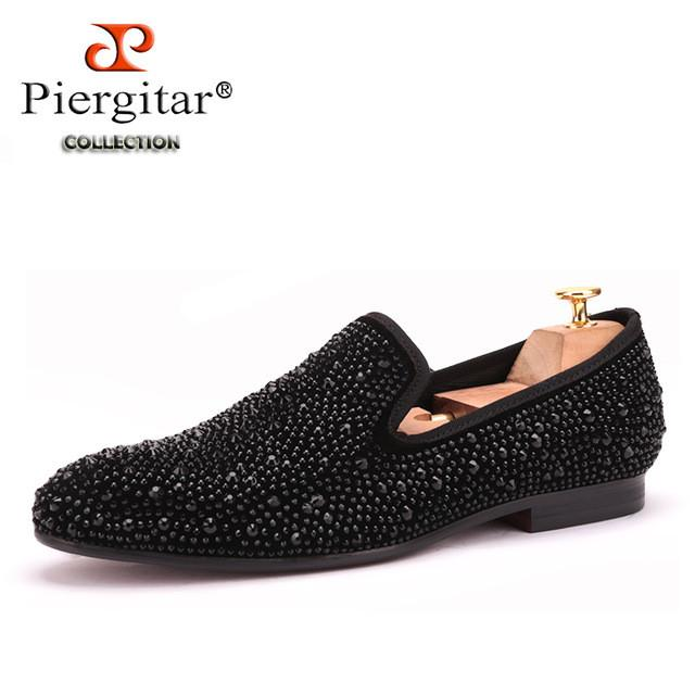 Men Black Crystal shoes same paragraph shoes New Suede Genuine Leather Fashion Men's Flats Prom male loafers-SLIPS-SheSimplyShops