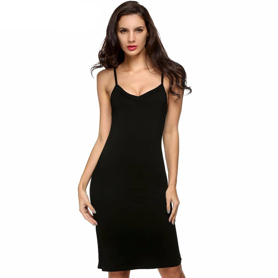 Ladies Women Casual Sexy Strap Slip Sleeveless V Neck Solid Bottoming Straight Dress Black White size S M L XL XXL-Dress-SheSimplyShops