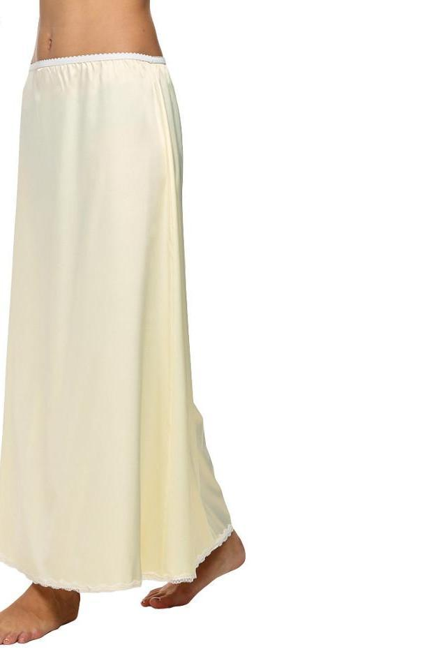 Women Satin Solid Lace Trim Maxi Half Slip Underskirt Slip Skirt Loose Elastic Waist White, Black, Beige-Dress-SheSimplyShops