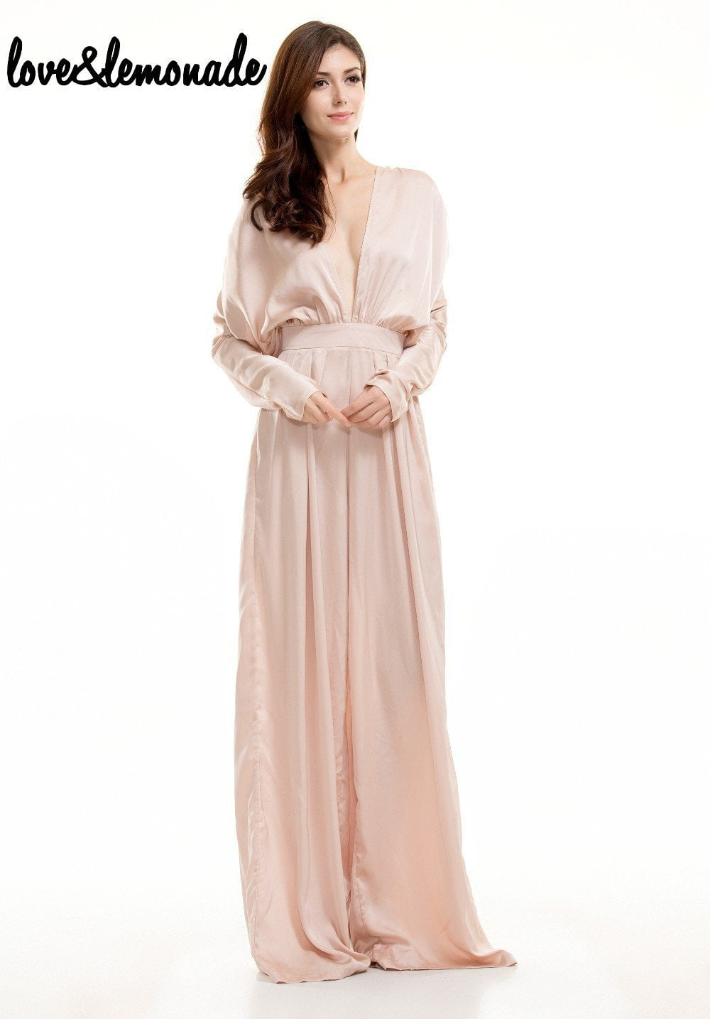 Nude Sexy V-Neck High Waist Loose Jumpsuits-ROMPERS & JUMPSUITS-SheSimplyShops