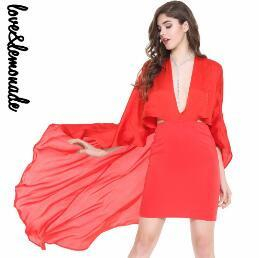 Sexy Cut Out V Collar Cloak Dress Red/Whte-Dress-SheSimplyShops