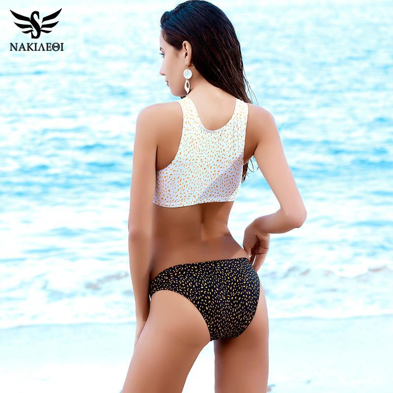 NAKIAEOI 2017 Sexy High Neck Bikini Swimwear Women Swimsuit Bandage Crop Top Push Up Brazilian Bikini Set Letter Bathing Suits-Tops-SheSimplyShops