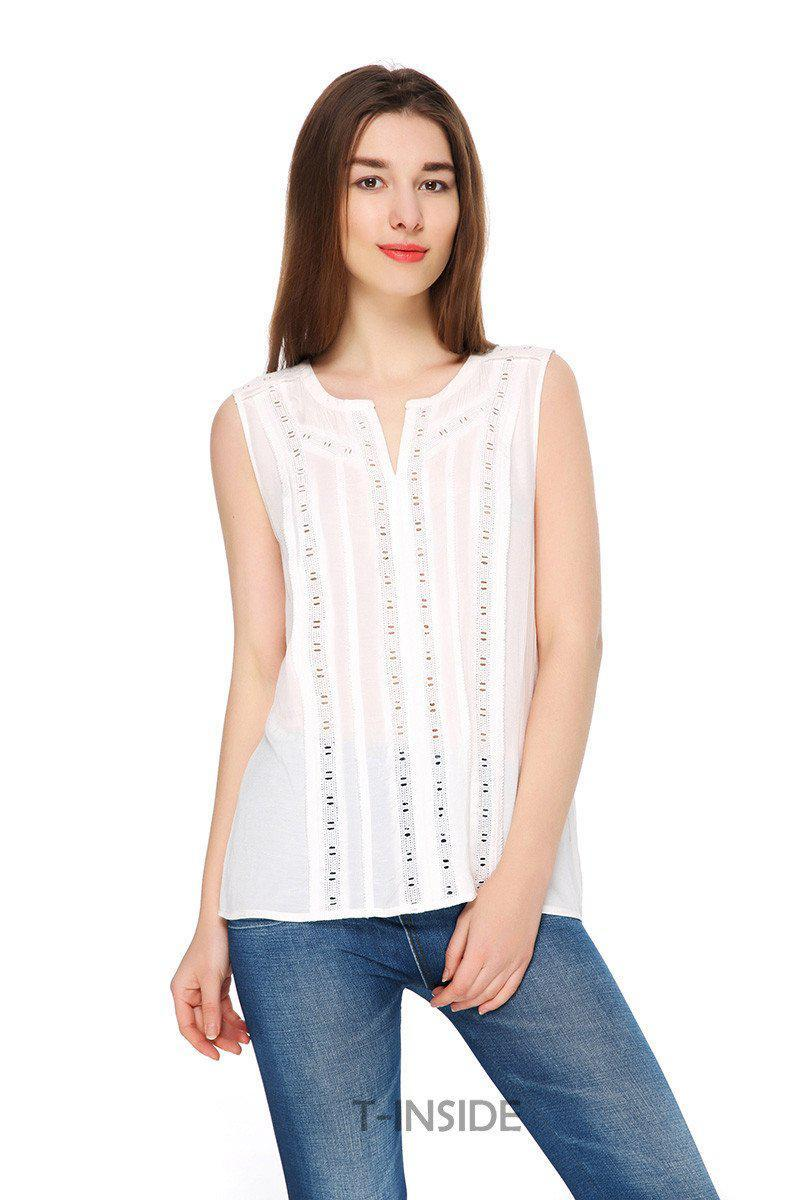 T-Inside Summer Brand Women's Cotton Top Tees Blouse with Hollow Out Pattern Fashion Design-Blouse-SheSimplyShops