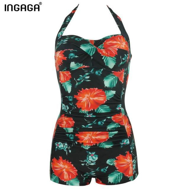 One Piece Swimsuit Swimwear women Halter Straight Retro Vintage Padded Floral Bathing Suits-SWIMWEAR-SheSimplyShops
