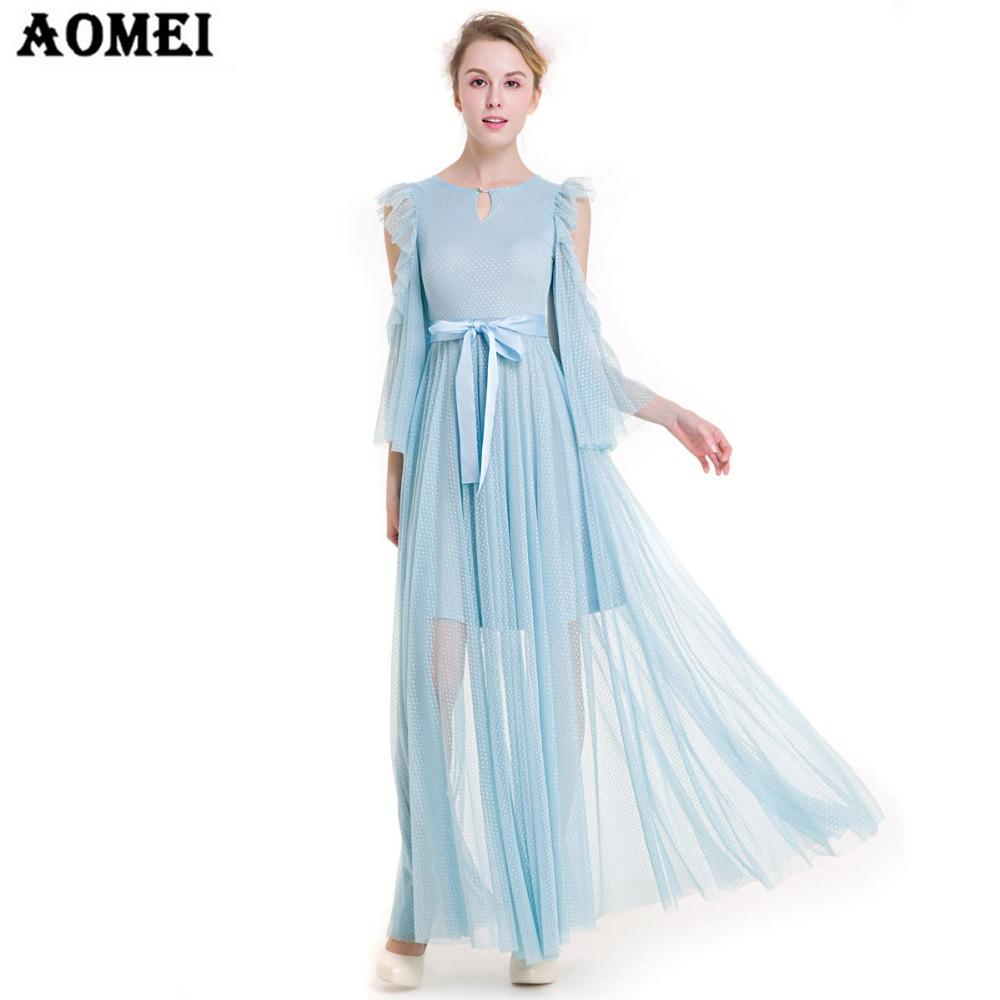 Spring Summer Maxi Dress for Girls New Baby Blue Color Solid Chiffon Lace Patchwork Pink Lolita Beachwear Robes-Dress-SheSimplyShops