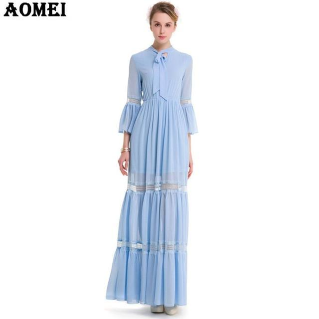 Spring Chiffon Maxi Dress Blue Color Pink Color Girls Casual Patchwork Clothing Gowns Robes-Dress-SheSimplyShops