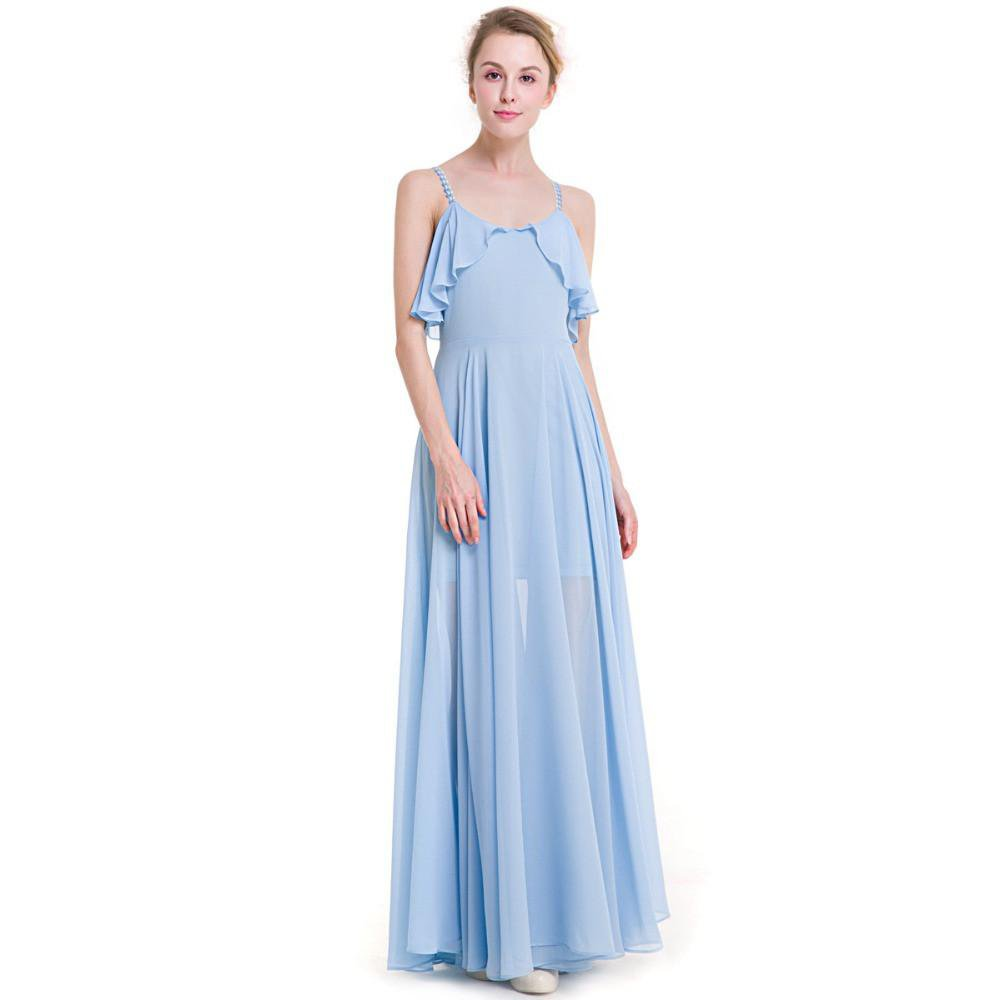 Women Chiffon Beach to Bar Dress Maxi Blue Color Spaghetti Strap with Embroidery Pattern Girls Beachwear Gowns-Dress-SheSimplyShops