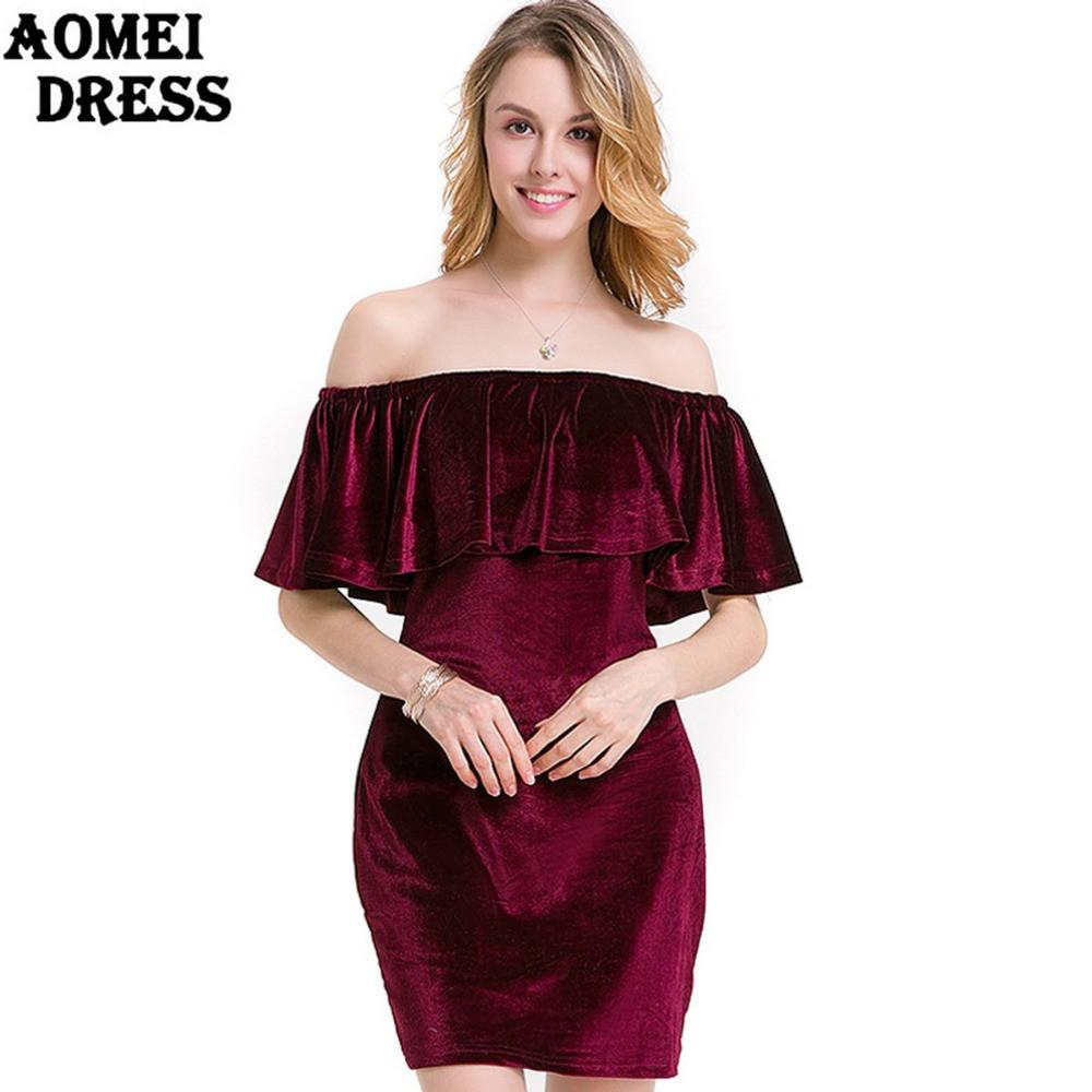 Off the Shoulder Velvet Women Mini Dress with Ruffles Pencil Club wear Blue Wine Red Spring Clothing Robes Tunics-Dress-SheSimplyShops