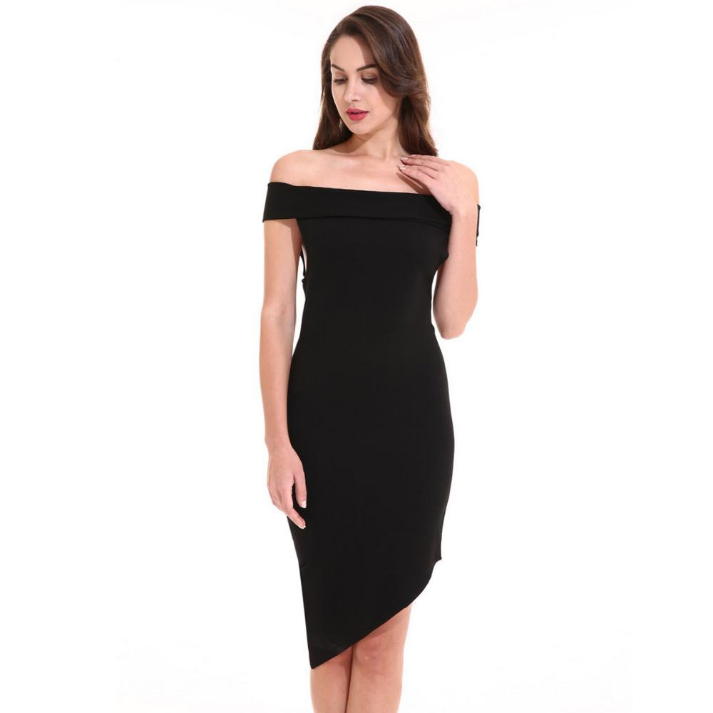 Ladies Sexy Off the Shoulder Black Dress Slim Party Irregular Mini Dress-Dress-SheSimplyShops