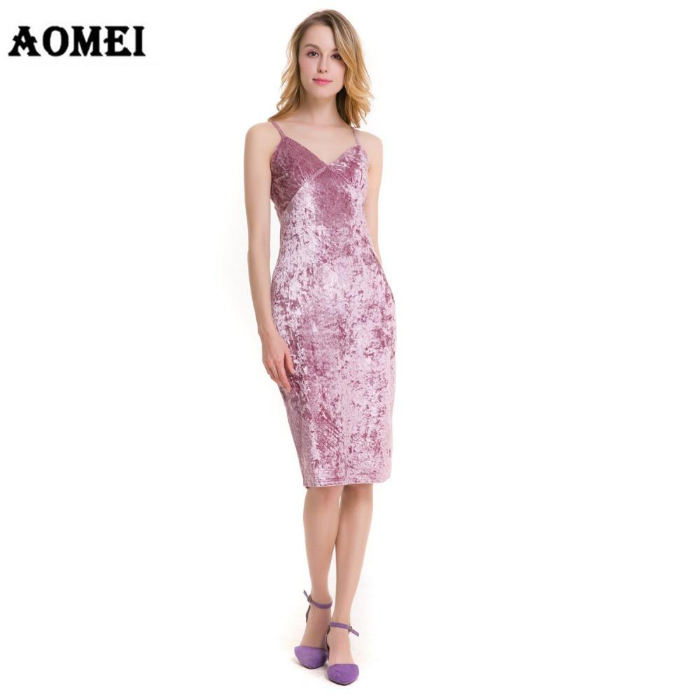 Women Spring Pink Color Velvet Spaghetti Dress Knee Length Sexy Female Club wear Clothing Dresses-Dress-SheSimplyShops