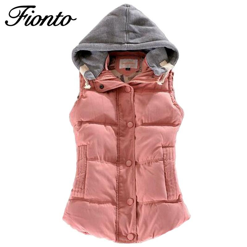 Women Winter Vest Cotton Casual Temperament Slim Vest Coat Hooded Winter Warm Jacket And Outerwear-Coats & Jackets-SheSimplyShops