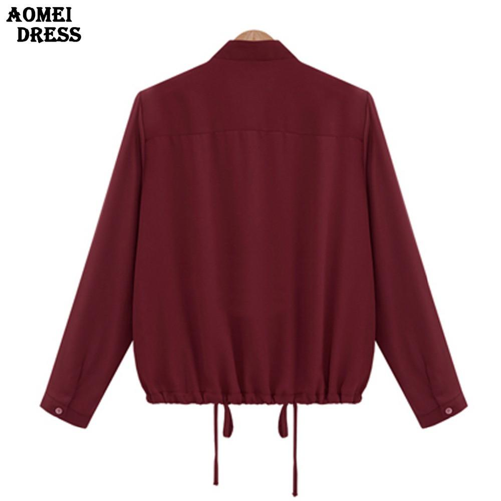 Women Wine Red Casual Blouse with Zipper Pockets and Ruffles Spring New Arrival Long Sleeve Fashion Blusas Tops Shirts-Blouse-SheSimplyShops