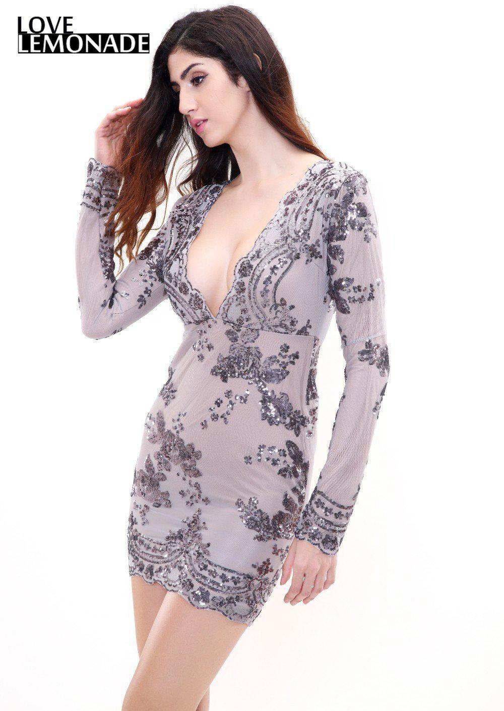 Sexy silver Sequin Flower Print V-Neck Party Dress-Dress-SheSimplyShops