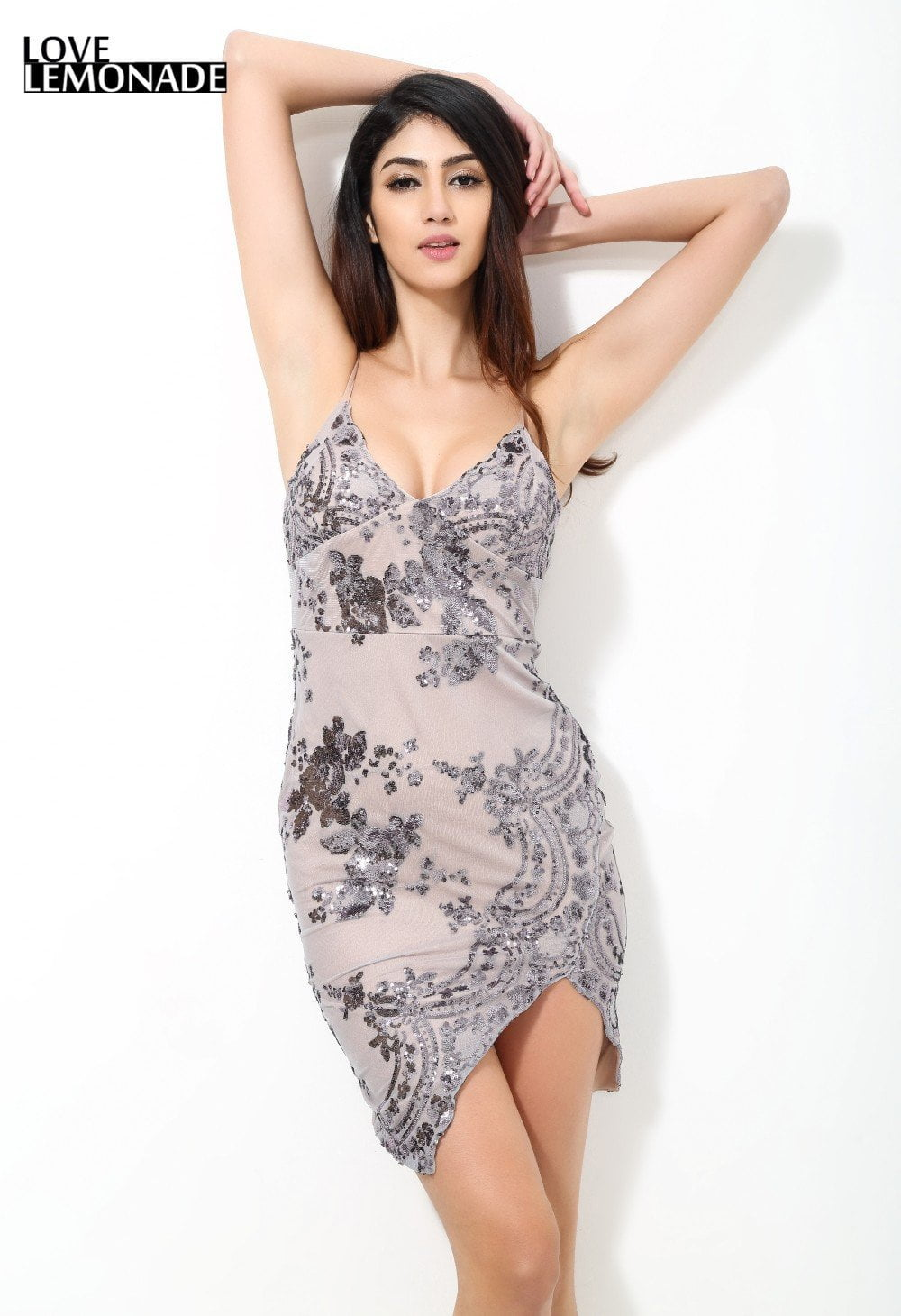 Silver Sequined Flowers Cross Party Dress-Dress-SheSimplyShops