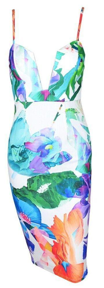 Abstract Print V-Neck Knee-Length Party Dress-Dress-SheSimplyShops