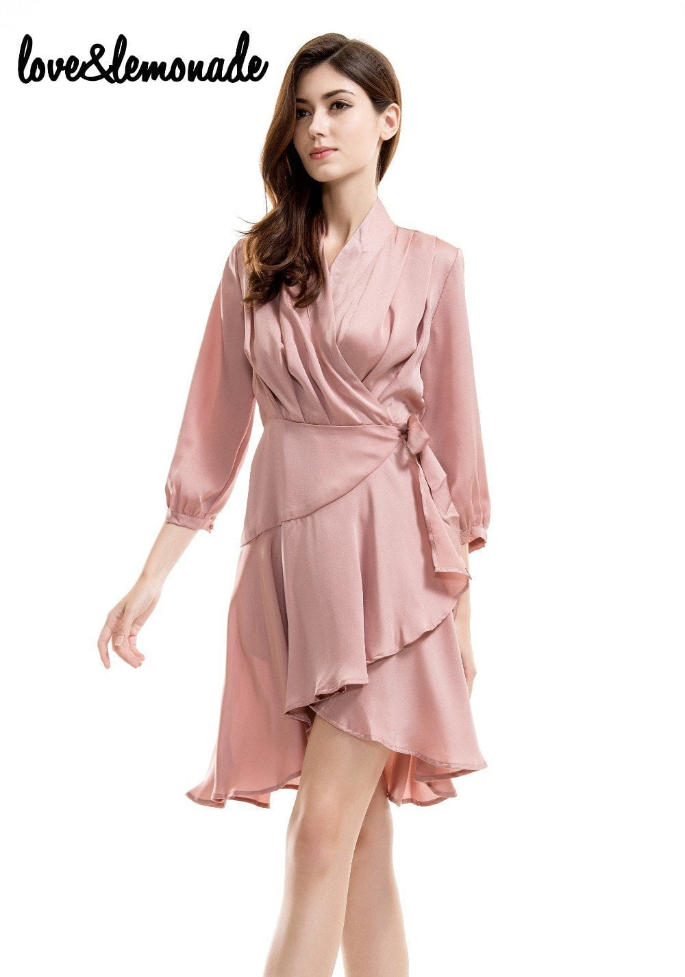 Nude Flash Fabric Sleeve V-Neck Party Dress-Dress-SheSimplyShops