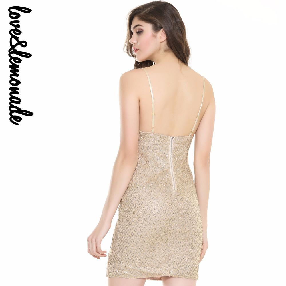 Sexy Zipper Cut Out V-Neck Party Dress Gold/Silver-Dress-SheSimplyShops