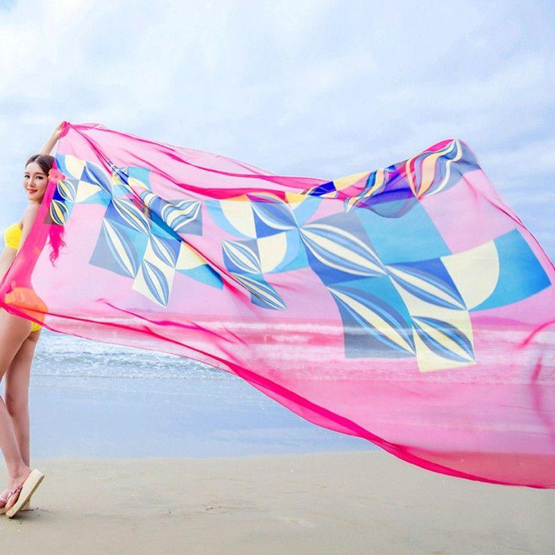 47bcfedcde 140x190cm Scarf Summer Women Beach Sarongs Chiffon Scarves Geometrical  Swimsuit Cover Up Dress Wraps-Dress