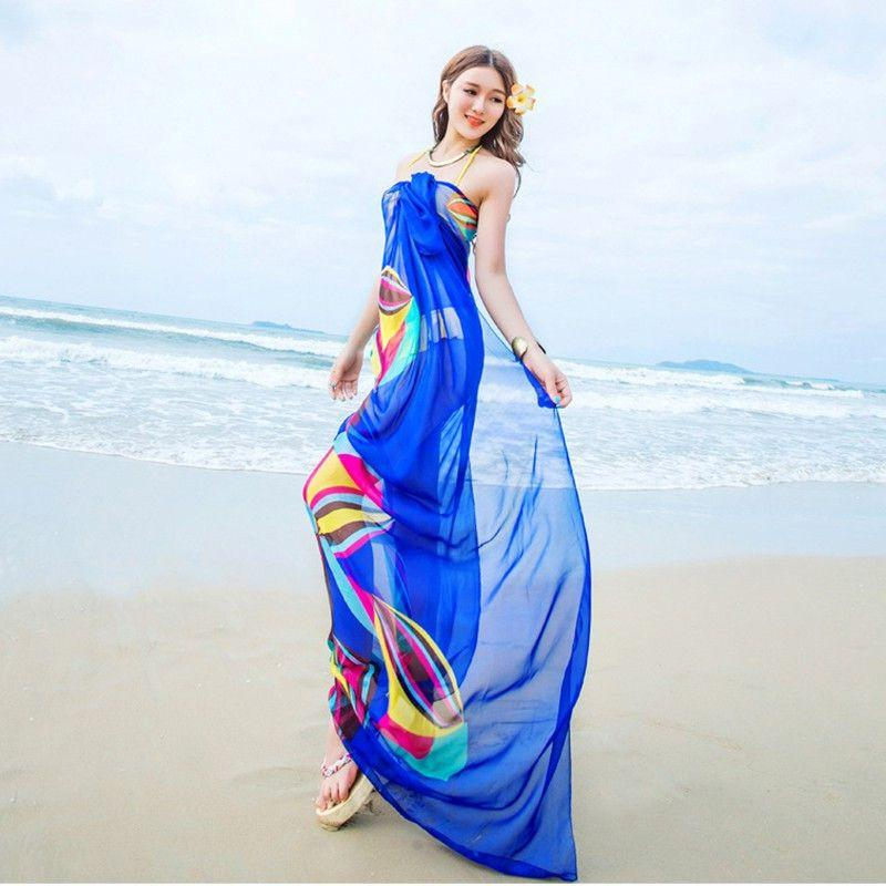 f32a58b7dcff6 140x190cm Scarf Summer Women Beach Sarongs Chiffon Scarves Geometrical  Swimsuit Cover Up Dress Wraps-Dress