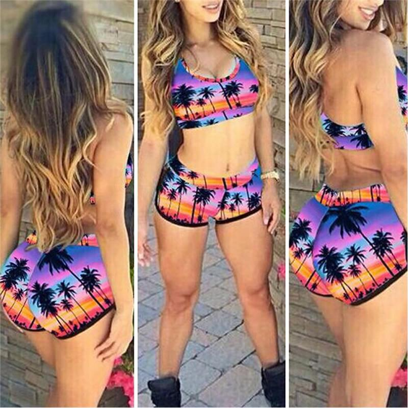 Sexy Women Crop Tops High Waist Shorts Floral Bikini Set Beach Swimwear Swimsuit High Quality-Bottoms-SheSimplyShops