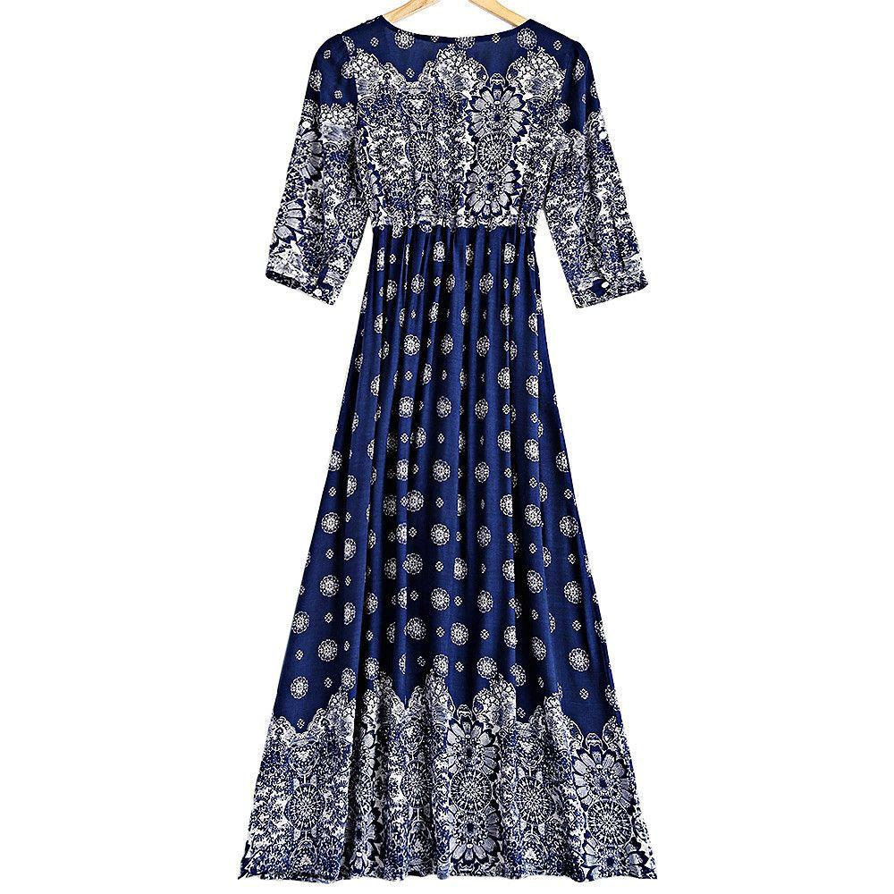 Bohemian Style Women Summer Dress V-Neck Three Quarter Sleeve Ankle-Length Printed Empire A-Line Dresses-Dress-SheSimplyShops