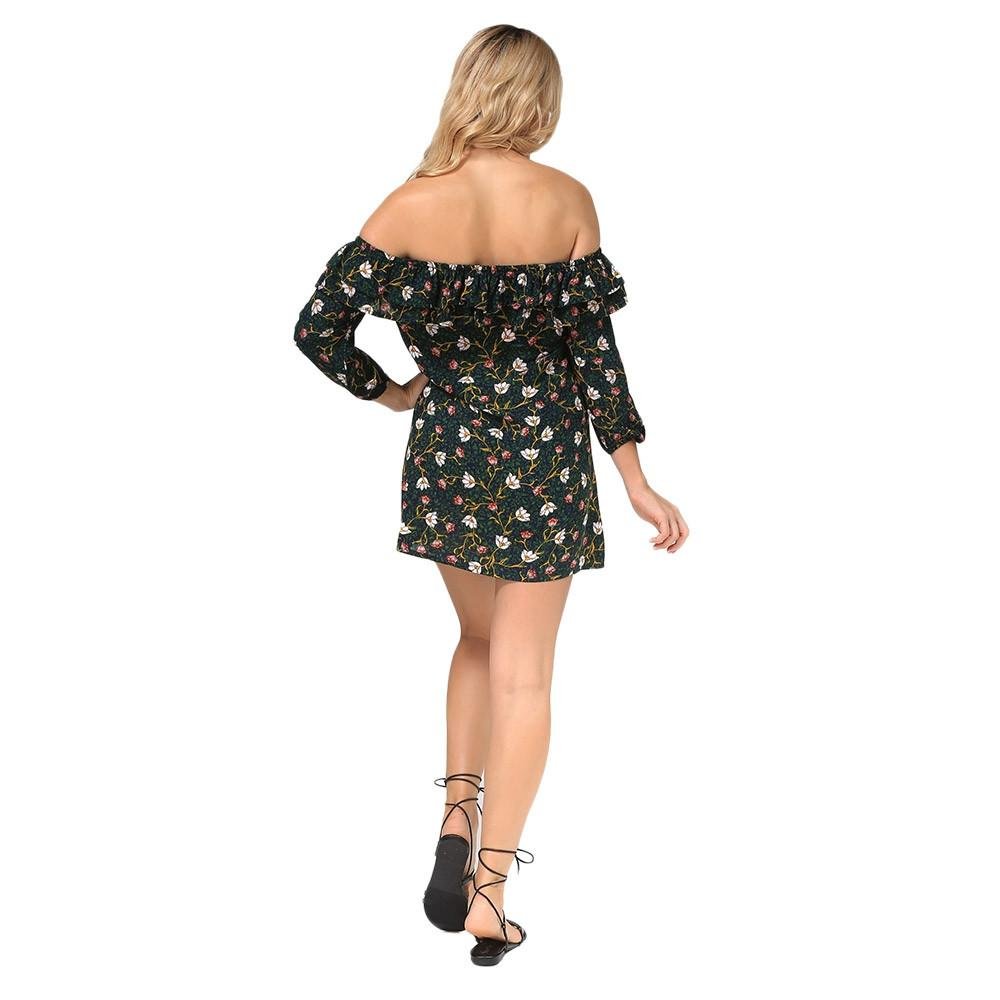 Sexy 3/4 Sleeve Off The Shoulder Ruffled Floral Women Dress Spring Summer Bohemian Straight Slash neck Mini vestidos-Dress-SheSimplyShops