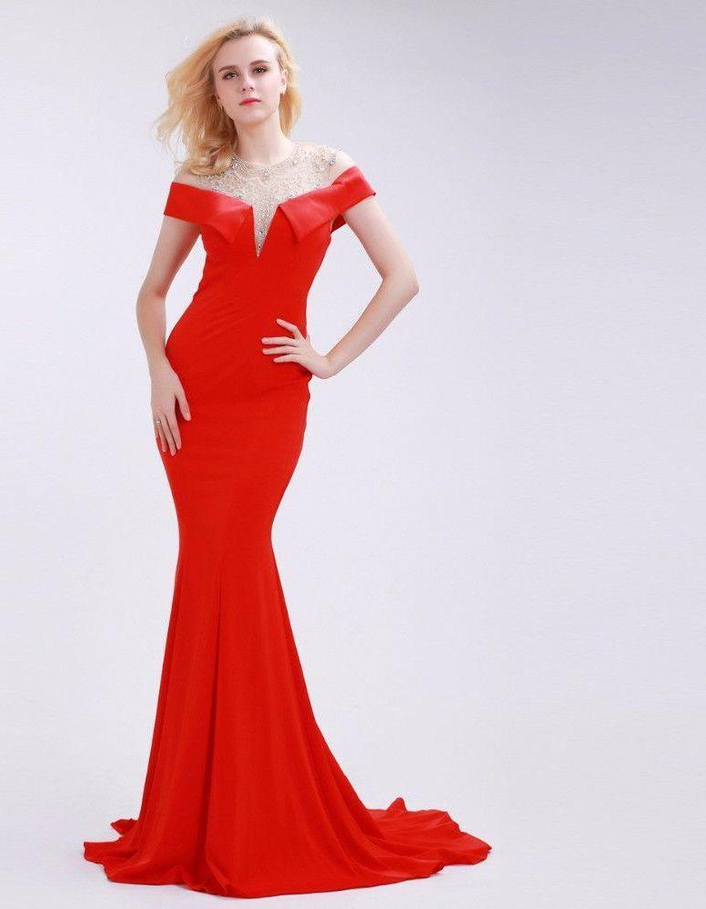 Beading O-Neck Evening Dresses Backless Floor-Length New Sexy Sheath Mermaid Court Train Party Gowns for Women-Dress-SheSimplyShops