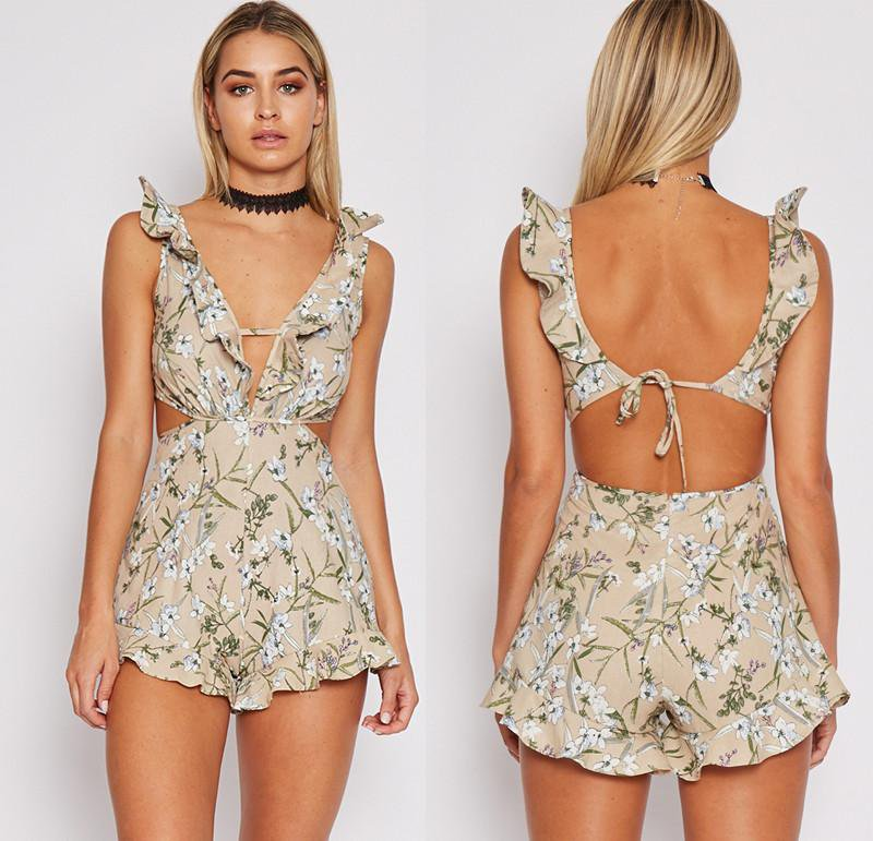 Keyhole Cut Backless Ruffles Sleeve V neck Summer Print Women's Floral Playsuit Jumpsuit Sleeveless Romper Beach Wear-ROMPERS & JUMPSUITS-SheSimplyShops