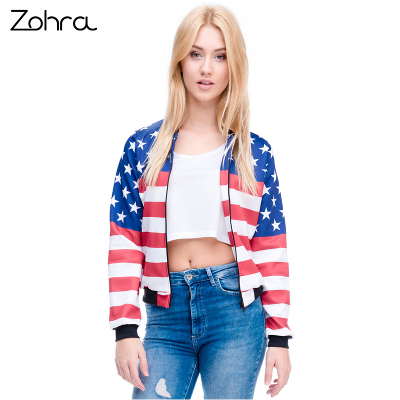 New Arrival Women Bomber Jacket Printed Outwear Coats Teenager Basic Jackets-Coats & Jackets-SheSimplyShops