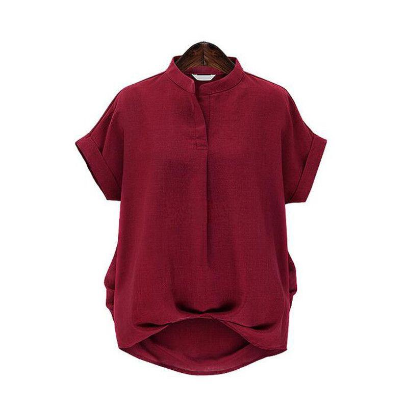 Stylish Loose Tops Short Sleeve Stand Collar Blouses-Blouse-SheSimplyShops