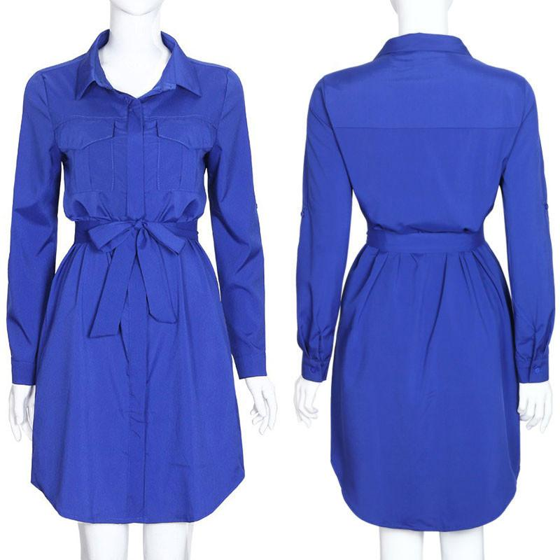 Women Shirt Dress Ladies Office Dresses Fashion Women Dress Chiffon Pocket Bow Belt Spring Clothes Casual Wear-Dress-SheSimplyShops