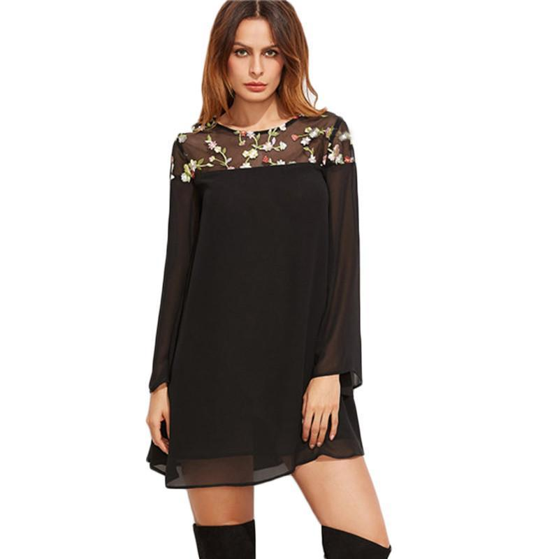 A Line Long Sleeve Women Summer Mini Dress Black Floral Embroidered Mesh Shoulder Kimono Sleeve Dress-Dress-SheSimplyShops