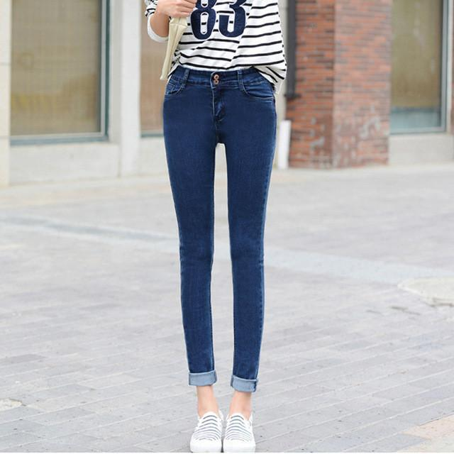 Long Spring Skinny Pencil Woman Jeans High Waist Elastic Denim Pants Solid Stretch Basic Jeans Casual-JEANS-SheSimplyShops